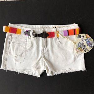 Indigo Rein White Denim Distressed Shorts!!  New!!